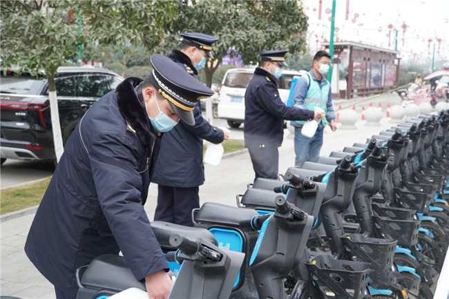 【新春走基层】汉台区集中为共享单车消毒,为市民出行保驾护航